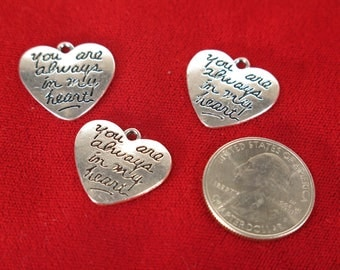 """BULK! 30pc """"You're always in my heart"""" charms in antique silver style (BC1260B)"""