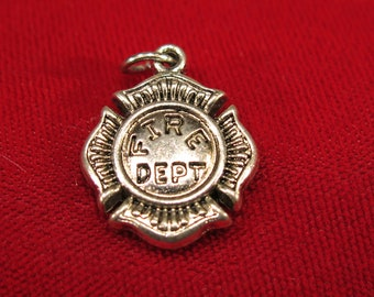 """BULK! 10pc """"fire dept"""" charms in antique silver style (BC631B)"""