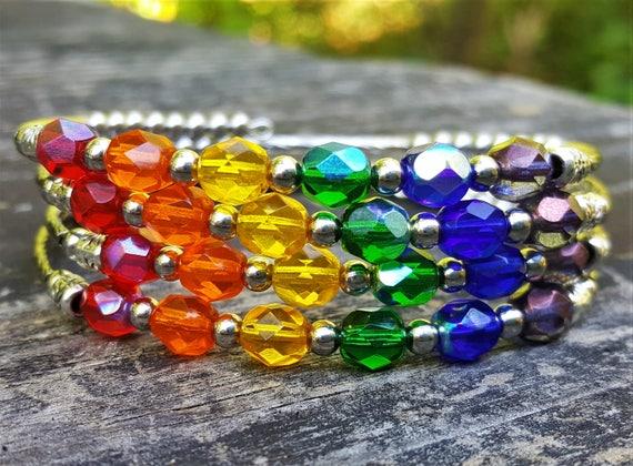 Silver Rainbow Memory Wire Bracelet