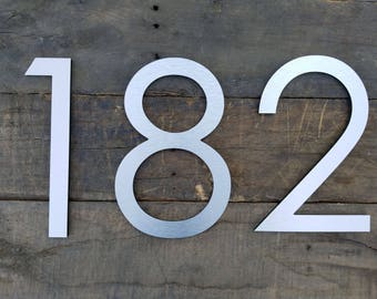 10'' Modern House Numbers Brushed Aluminum Stud Mounted Metal Address Numbers And Letters Minimalist Contemporary