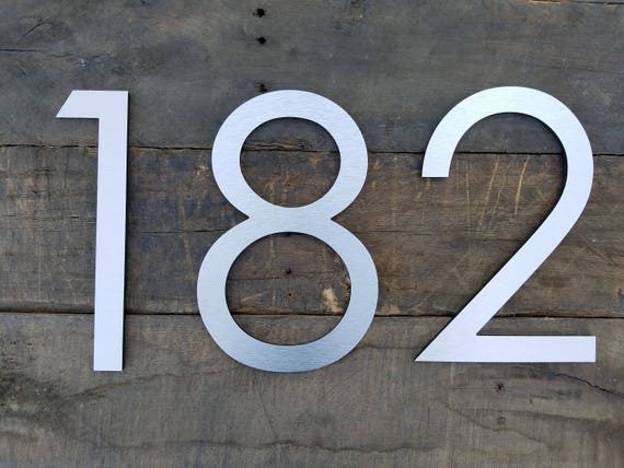 10 Modern House Numbers Brushed Aluminum Stud