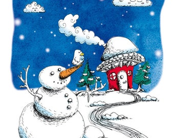 Illustrated postcard snowman in snow