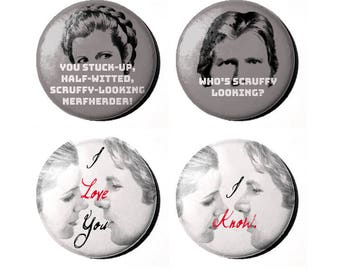"Star Wars Princess Leia and Han Solo 1"" Badges"
