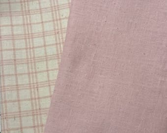 """Pink Plaid and Solid Pink   """"Handkerchief Linen""""   2-Fabrics"""