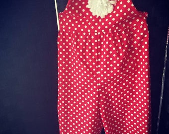 Retro Polka dotted red Halter Jumpsuit,