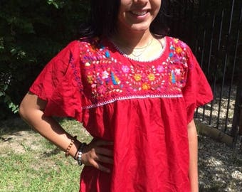 Embroidered blouse,Oaxaca blouse,Red,Large,L,Mexican blouse,top,boho blouse, Cotton blouse
