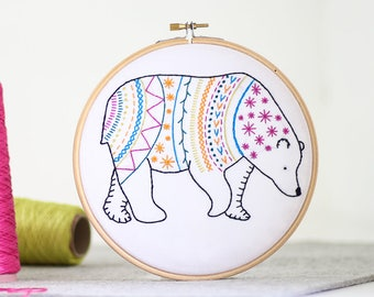 Bear Embroidery Kit - Contemporary Embroidery - Modern Embroidery Kit - Hand Embroidery Kit - Craft Kit - Embroidery Pattern