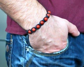 Mens bracelet , Red jasper bracelet , Boyfriend gift , Beaded bracelet , Jasper bracelet , For men , Mens gift , Shamballa