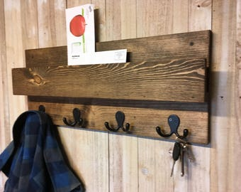 Modern Rustic Industrial Entryway Organizer, Mail Holder, Coat Rack with Floating Shelf, Hat Rack, Shelf, Key Holder