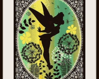 Beautiful Tinkerbell silhouette, cross stitch pattern, Tinkerbell pattern, Tinkerbell cross stitch, Tinkerbell, PDF pattern instant download