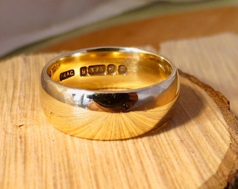 Big wide heavy 9k yellow gold band made in 1959