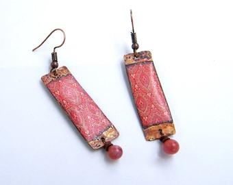 Boucles d'oreilles rustiques - bijoux bohème - pendantes- artisanal - cuivre émaillé - verre - pièce unique - boho - les bijoux de francesca