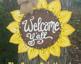 Welcome Y'all Sunflower door hanger