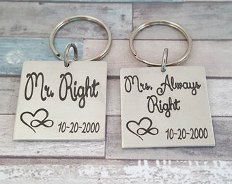 Couples Engraved Key Chains | Mr. Right & Mrs. Always Right | Wedding Date and Names engraved on the back