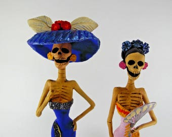 """2 CATRINA SET pair of two mexican figures day of the dead wholesale lot 11"""""""