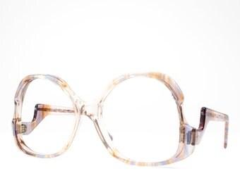 Vintage Eyeglasses | 70s Glasses | Clear Pink Eyeglass Frame | 1970s Oversized Round Glasses  - December