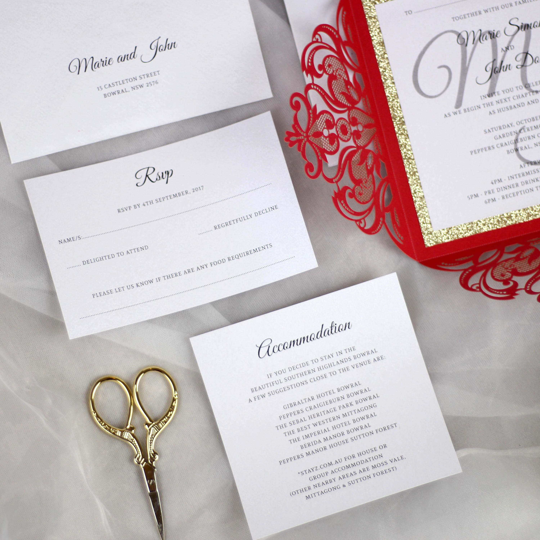 Red and Gold Wedding Invitations, Gold Glitter Wedding Invitation ...