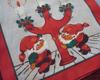 Vintage German Christmas Table Runner - Elves & Candles - Excellent Vintage Condition!!