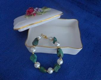 Tumbled Turquoise Nugget Bead Bracelet,Turquoise and Pearl Bracelet,Turquoise Bracelet,Wedding Bracelet
