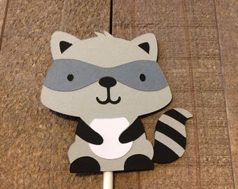 Raccoon Cupcake Topper Forest Animal Woodland Critter Birthday Baby Shower Decor Decoration