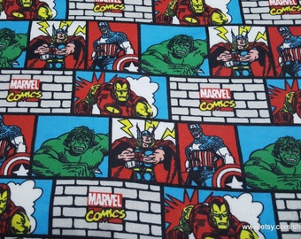 Character Flannel Fabric - Marvel Retro Comic Bricks - By the yard - 100% Cotton Flannel