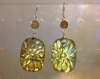 Beautiful Exotic Carved Green Labradorite Earrings in Sterling Silver