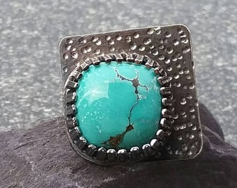 Turquoise Ring, Silver Ring, Artisan Ring, Boho Ring, Gemstone Ring, Square Ring