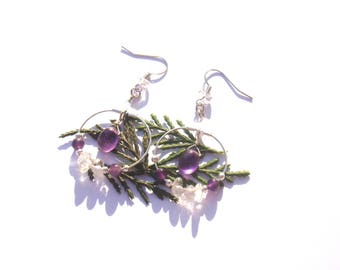 Around the sacred feminine: BO Creole Indian amethyst and pearls 5.3 cm in height