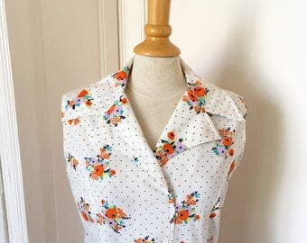 Vintage dress from the years ' 70 white with flowers//Vintage seventies dress white flowers