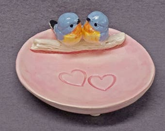 Ceramic Bird Dish, Ring Holder, Catch-All, Candle Holder, Jewelry Dish, Blue Love Birds, Romantic, Wedding Gift, Valentine's day