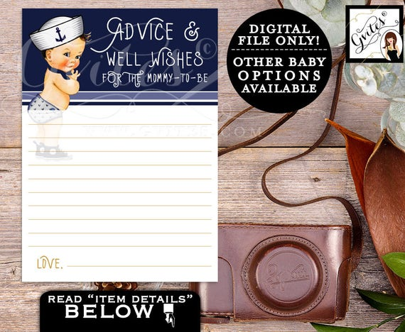 Advice Cards Baby Shower & Well Wishes for the Mommy-TO-BE, Little sailor, African American boy, nautical blue, ethnic baby. PRINTABLE