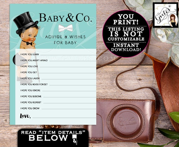 Baby & Co advice and wishes for the baby, advice cards, blue theme, baby boy Instant Download Printable {MED/BRUNETTE} 5x7 2/Sheet