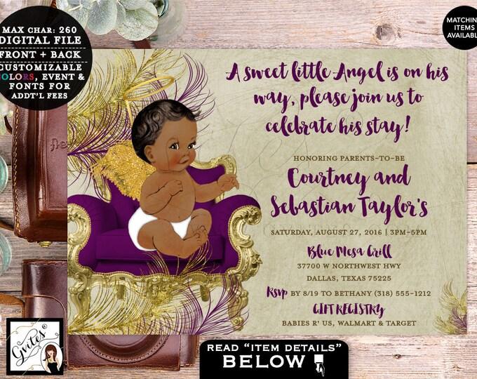 "Angel Baby Shower Invitation, Eggplant and Gold, Burgundy Beige and Gold Boy Shower Vintage Printable Invites. 7x5"" DIGITAL FILE ONLY!"