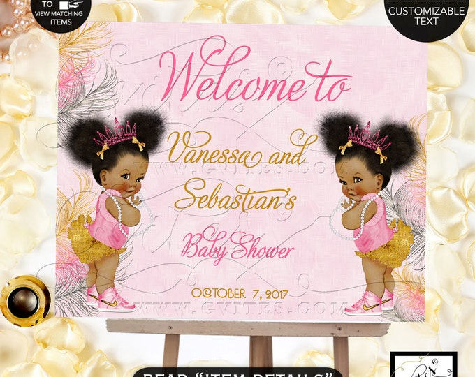 Pink Gold and Silver TWINS Baby Shower Welcome Sign, Princess Decoration, Vintage Baby Girl African American Afro Puffs Pink Tiara