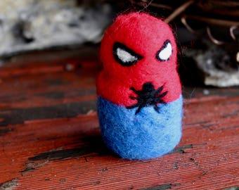 Needle Felted Spiderman // Felted People // Fiber Art // Home Decor // Merino Wool // Punk // Superhero // Kawaii