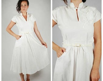SALE 25% Off 1940's Dress - 40's White Cotton Dress - Summer Dress - Size XS/S