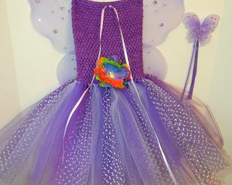 Adorable Purple/Lavender FAIRY or PRINCESS Costume, size 2 to 6 or slim 7!  Dress with Wings, Hairpiece & Magic Wand! Affordable and FUN!