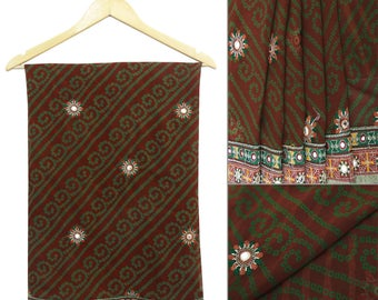 Vintage Indian Traditional Upcycled Georgette Saree Green Embroidered Sari Art Decorative Craft Used Fabric 5 Yard GR6106