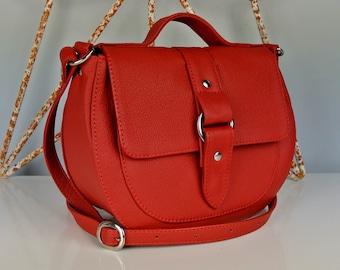 Red Leather Saddle Bag - Cross-body Bag - Personalized Bag - Shoulder Bag - Leather Handbag