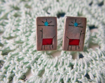 Pair Of Signed 925 Sterling Silver ALPACA / LLAMA Post & Stud Pierced EARRINGS Turquoise and Dark Red Inlay ~ Handcrafted ~ Tribal ~ Sun