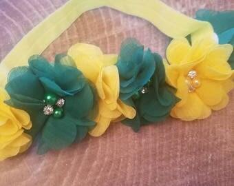 Green and yellow elastic headband. Baylor headband. Green Bay Packers headband.