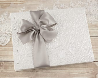 Wedding Photo ALBUM, Instagram Album, Silver, Gray, Bridesmaids Gifts, Small Brag Book, White Wedding Album, Album for 4x6, MADE to ORDER
