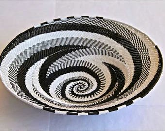 African Telephone Wire Bowl - BLACK AND WHITE - swirl