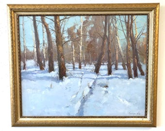 Winter, Landscape oil Painting, Handmade artwork, Painting on Canvas, Framed, One of a Kind