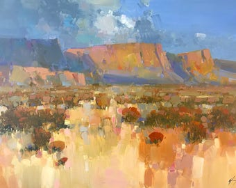 Canyon View, Landscape Original oil Painting, Handmade artwork, One of a kind
