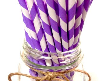 25 Lavender Stripes paper straws // baby bridal shower decorations / candy dessert buffet table // wedding // First birthday/new year party