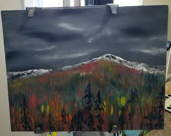 Pikes Peak in Fall 11x14 Panel/Colorado Oil Painting/Colorado Springs