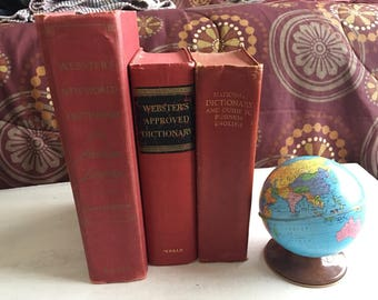 3 Old Red Dictionaries for Book Decor