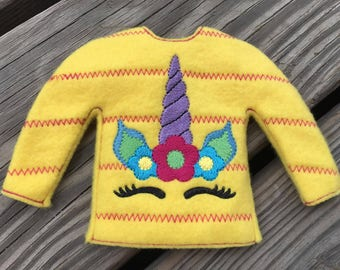 100% In the Hoop  - Unicorn - Doll Sweater - 5 x 7 Only - Fleece is Suggested -  DIGITAL Embroidery Design