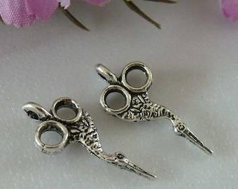Carved silver scissors 4 X 20mm Tibetan